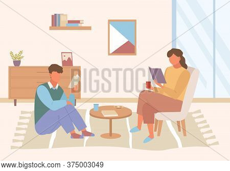 Characters Read Books At Home Illustration. Guy Girl Sitting Armchair Floor Enthusiastically Studyin