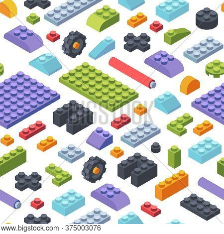Constructor Kids Isometric Seamless Pattern. Creativity Tiles And Parts Assembly Geometric Toy Model