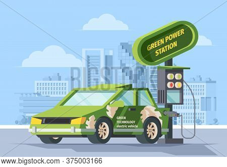 Electro Refueling Green Power Illustration. Modern Car Charges Energy Accumulator From Electric Poin