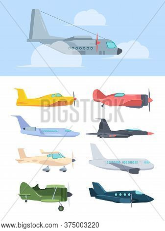 Airplanes Stylish Set. Big Passenger Liners Cargo Plane Retro Propeller Corncob Super Powerful Comba