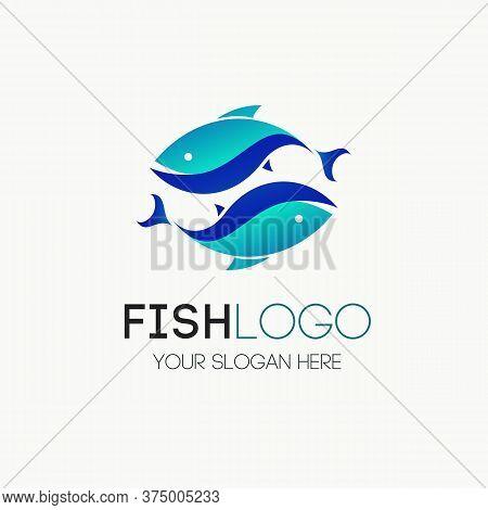 Fish Logotype Vector For Seafood, Restaurant Food, Fresh Ocean Food Market, Fishing. Tuna, Trout, Sa