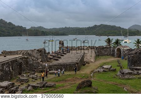 Visitors To The Santiago Battery Fortifications, Portobelo, San Lorenzo, Panama