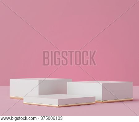 3d Geometric Forms. Podium In White Marble Color. Fashion Show Stage,pedestal, Shopfront With Colorf