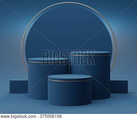 3d Geometric Forms. Classic Blue Podium. Fashion Show Stage,pedestal, Shopfront With Colorful Theme.