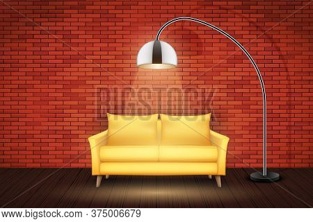 Interior Of Loft With Furniture. Yellow Sofa And Vintage Floor Lamp. Red Bricks And Wooden Floor. Ve