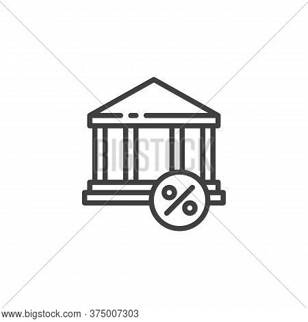 Loan, Interest, Mortgage Line Icon. Linear Style Sign For Mobile Concept And Web Design. Bank Buildi