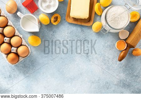 Raw Ingredients For Cooking Pie With Apricot Bakery Background Top View