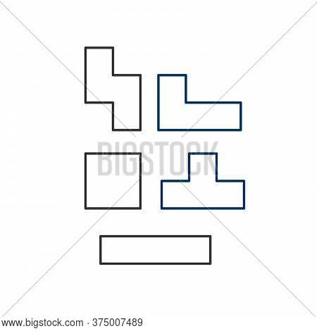 Outline Tetris Bricks Or Shapes. Stock Vector Illustration Isolated On White Background.