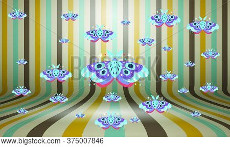 Several Beautiful Butterflies On Abstract Backgrounds Art