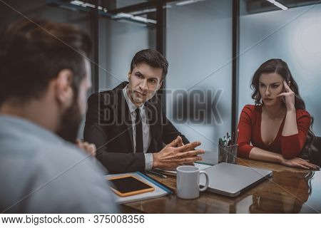 Calm And Confident Layer Resolving A Dispute Between Spouses