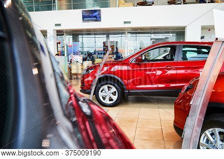 Kirov, Russia - May 07, 2019: Car In Showroom Of Dealership Nissan In Kirov