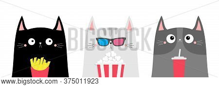 Cat Set. Popcorn, Soda, French Fries. Cute Cartoon Funny Character. Cinema Theater. Film Show. Kitte