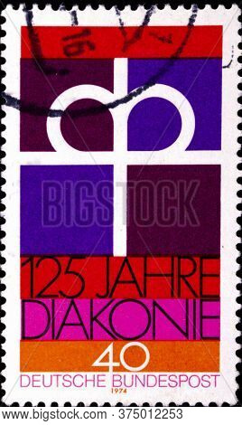 02 08 2020 Divnoe Stavropol Territory Russia The Postage Stamp Germany 1974 125th Anniversary Of The