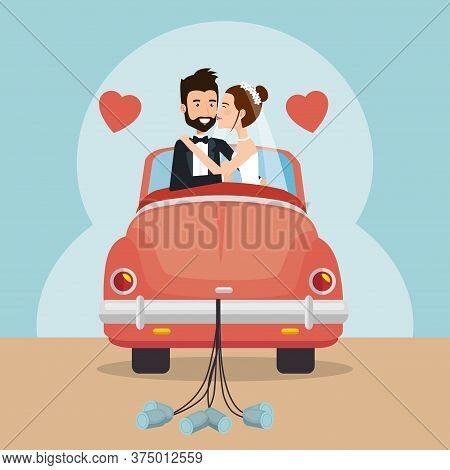 Just Married Couple With Car Avatars Characters Vector Illustration Design