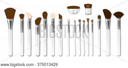 Set Of Professional White Makeup Brushes Isolated. Realistic Powder Blush, Eye Shadow, Brush Or Brow
