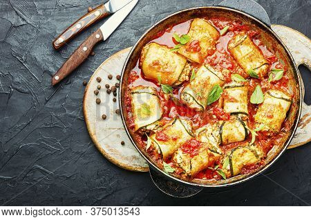 Zucchini Rolls With Cheese