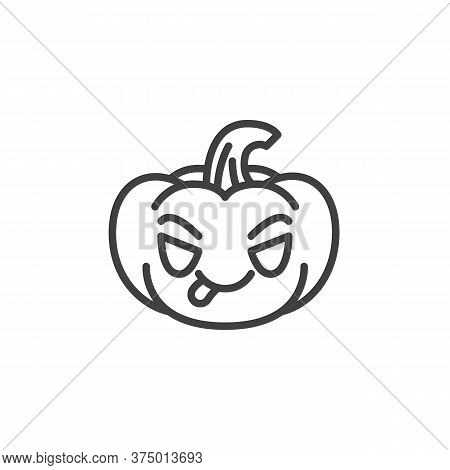Pumpkin Face Savoring Food Emoji Line Icon. Linear Style Sign For Mobile Concept And Web Design. Pum