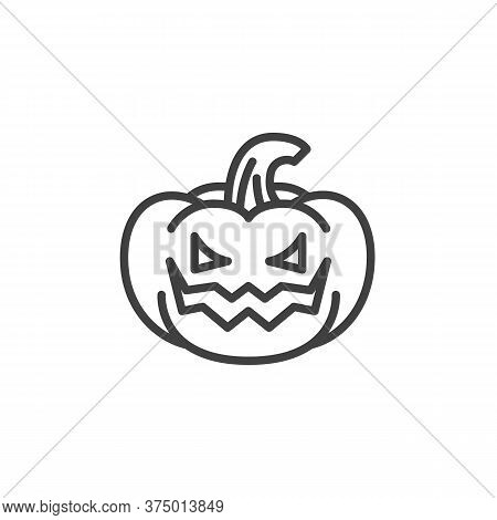 Pumpkin With Angry Face Emoji Line Icon. Linear Style Sign For Mobile Concept And Web Design. Crazy