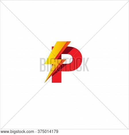 P Letter Initial Logo Design Template. Alphabet With Thunder Shape Logo Concept. Isolated On White B