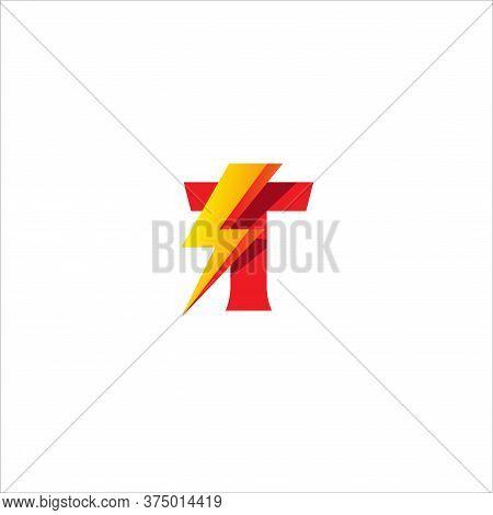 T Letter Initial Logo Design Template Isolated On White Background. Alphabet With Thunder Shape Logo