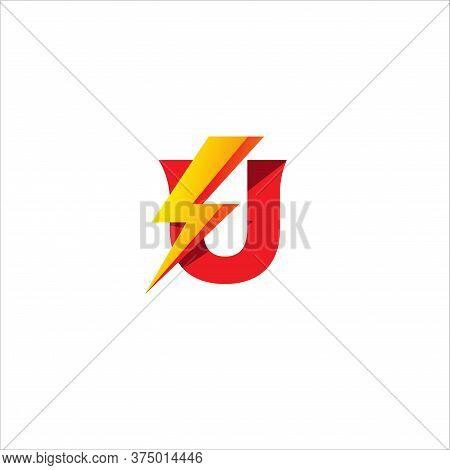 U Letter Initial Logo Design Template. Alphabet With Thunder Shape Logo Concept.  Isolated On White