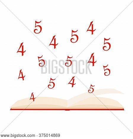 Back To School Concept, Notebook With Pen Sign On White Background, Homework And Grades Icon In Flat