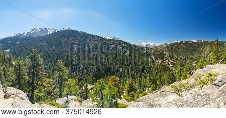 Snowy peaks of Sierra Nevada mountains on the route 167/359 from California to Nevada, USA