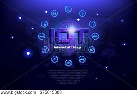 Internet Of Things Iot. New Network Concept For Connected Devices. Network Of World Connections On F