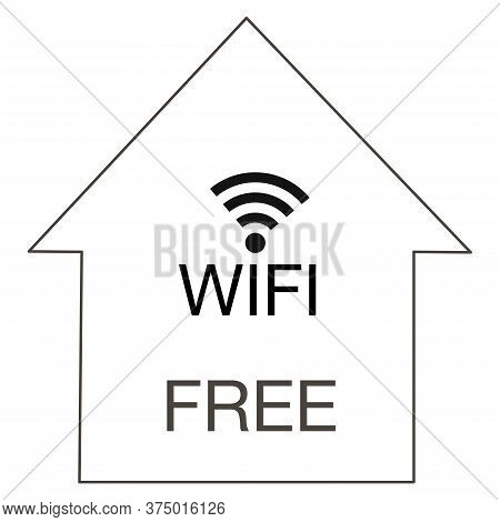 Wi-fi Sign For Design Symbol Free Wi-fi In Home Or Cafe, Restauran