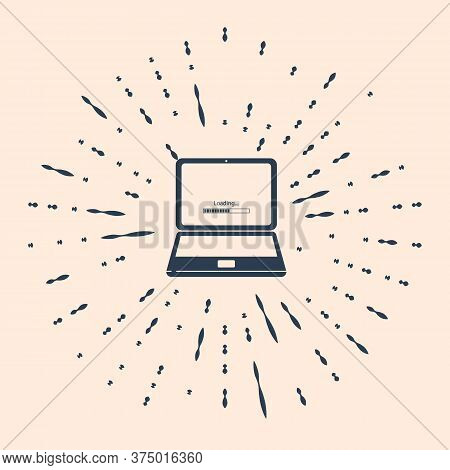 Black Laptop Update Process With Loading Bar Icon Isolated On Beige Background. System Software Upda