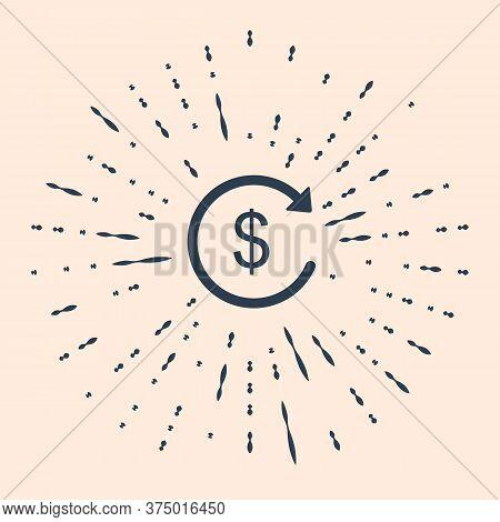 Black Refund Money Icon On Beige Background. Financial Services, Cash Back Concept, Money Refund, Re