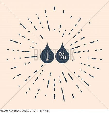 Black Humidity Icon Isolated On Beige Background. Weather And Meteorology, Thermometer Symbol. Abstr