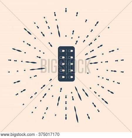Black Pills In Blister Pack Icon Isolated On Beige Background. Medical Drug Package For Tablet: Vita