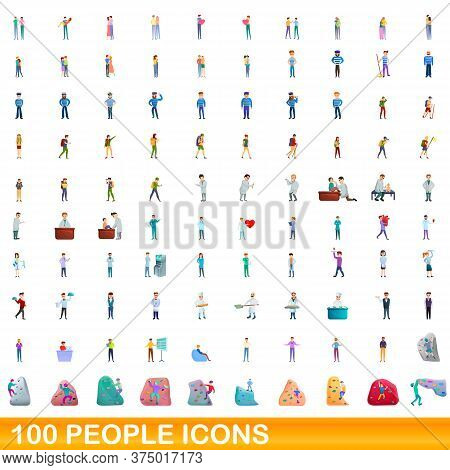 100 People Icons Set. Cartoon Illustration Of 100 People Icons Vector Set Isolated On White Backgrou