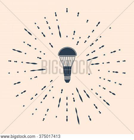 Black Led Light Bulb Icon Isolated On Beige Background. Economical Led Illuminated Lightbulb. Save E
