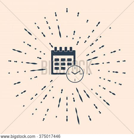 Black Calendar And Clock Icon On Beige Background. Schedule, Appointment, Organizer, Timesheet, Time