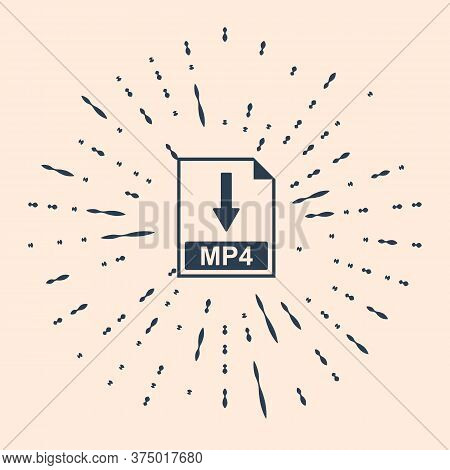 Black Mp4 File Document Icon. Download Mp4 Button Icon Isolated On Beige Background. Abstract Circle