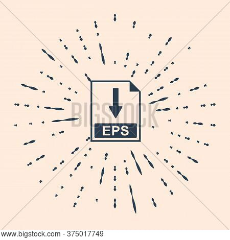 Black Eps File Document Icon. Download Eps Button Icon Isolated On Beige Background. Abstract Circle