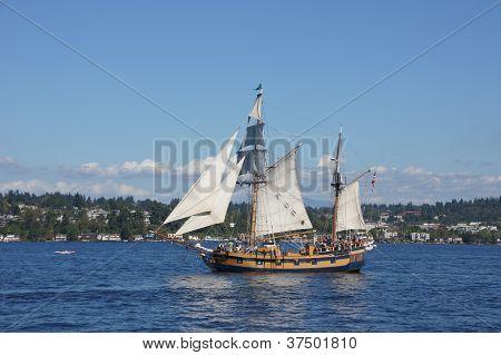 The Ketch, Hawaiian Chieftain, Sails On Lake Washington