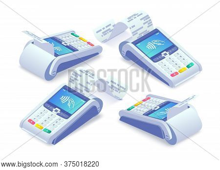 Isometric E-payments Pos Terminal With Receipt Set. 3d Wireless Nfc Payment Terminal With Check, Sha