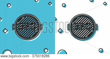 Black Barbecue Grill Icon Isolated On Blue And White Background. Top View Of Bbq Grill. Random Dynam