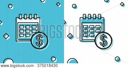 Black Financial Calendar Icon Isolated On Blue And White Background. Annual Payment Day, Monthly Bud