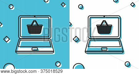 Black Shopping Basket On Screen Laptop Icon Isolated On Blue And White Background. Concept E-commerc