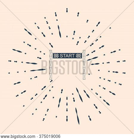 Black Starting Line Icon Isolated On Beige Background. Start Symbol. Abstract Circle Random Dots Ill