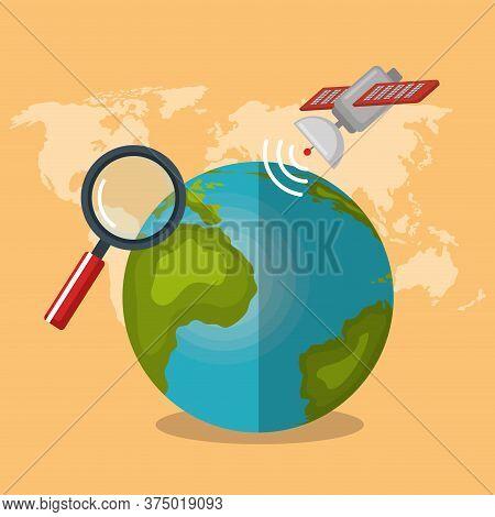 World Planet With Gps Navigation Icons Vector Illustration Design