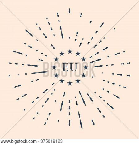 Black Flag Of European Union Icon Isolated On Beige Background. Eu Circle Symbol. Waving Eu Flag. Ab