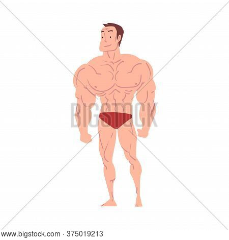 Athletic Man In Underwear, Young Man With Muscular Body Cartoon Style Vector Illustration On White B