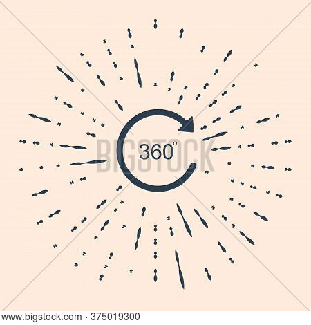Black Angle 360 Degrees Icon Isolated On Beige Background. Rotation Of 360 Degrees. Geometry Math Sy