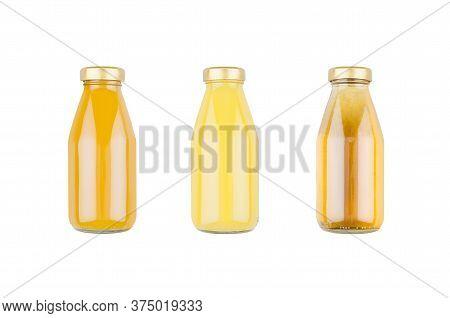 Summer Fruits Juices - Orange Juice, Mango, Apple In Glass Bottles Isolated, Mock Up For Design, Adv