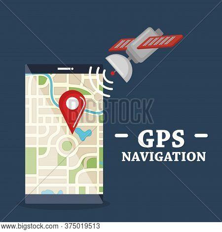 Smartphone With Gps Navigation App Vector Illustration Design